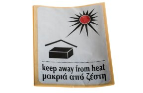 LABELS KEEP AWAY FROM HEAT